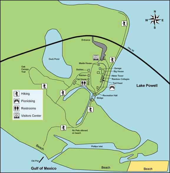 Florida State Park Map.Camp Helen State Park Florida State Parks
