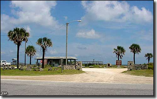 The beach campground entrance at Gamble Rogers Memorial State Recreation Area