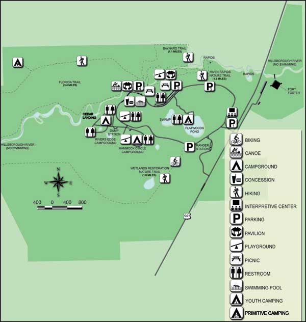 Florida State Parks Camping Map.Fort Foster State Historic Site Florida State Parks