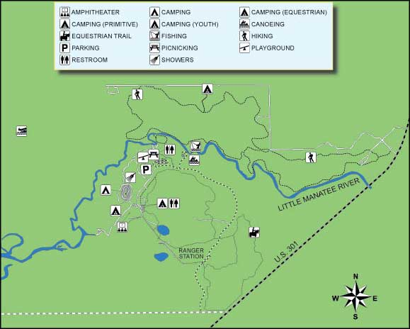 Florida State Park Map.Little Manatee River State Park Florida State Parks