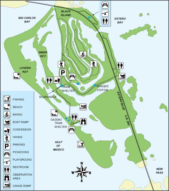 Florida State Parks Map.Lovers Key Carl E Johnson State Park Florida State Parks