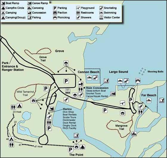 Florida State Parks Map.John Pennekamp Coral Reef State Park Florida State Parks