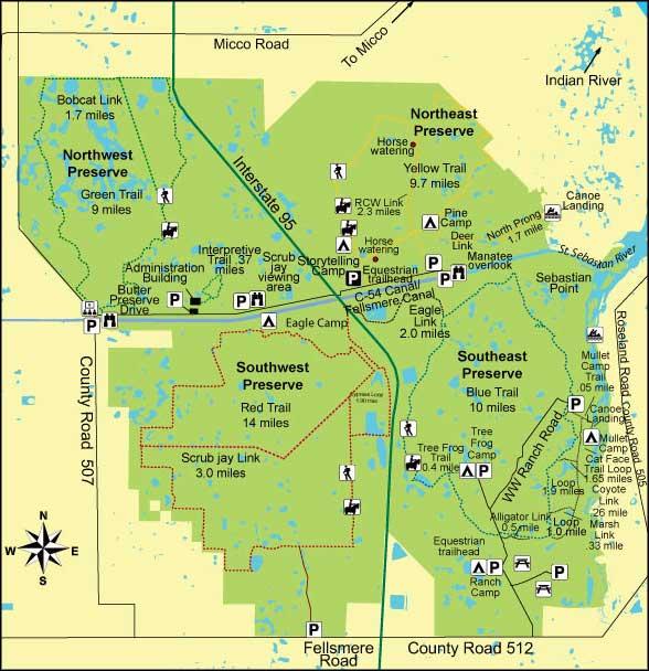 Florida State Parks Camping Map.St Sebastian River Preserve State Park Florida State Parks