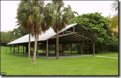 A picnic pavilion at The Barnacle Historic State Park