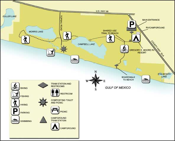 Florida State Parks Map.Topsail Hill Preserve State Park Florida State Parks