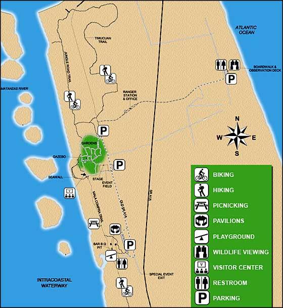 Florida State Park Map.Washington Oaks Gardens State Park Florida State Parks