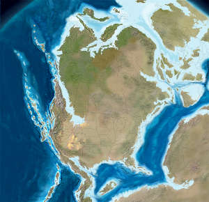 Map of North America 150 million years ago