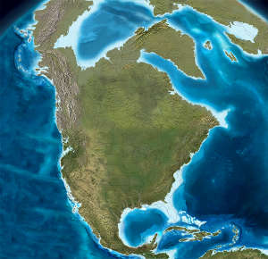 Map of North America 15 million years ago