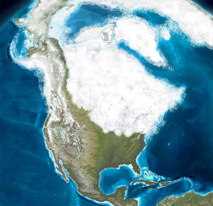 Map of North America during the Ice Ages