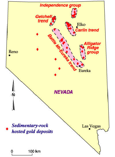 Map showing gold deposits in northeastern Nevada