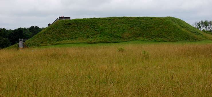 The large ceremonial mound at Ocmulgee National Monument