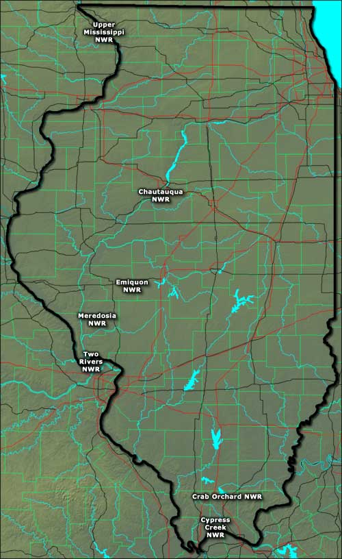 Map showing the locations of National Wildlife Refuges in Illinois