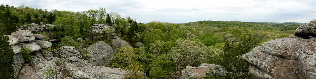 Granite outcroppings and thick forest in Shawnee National Forest