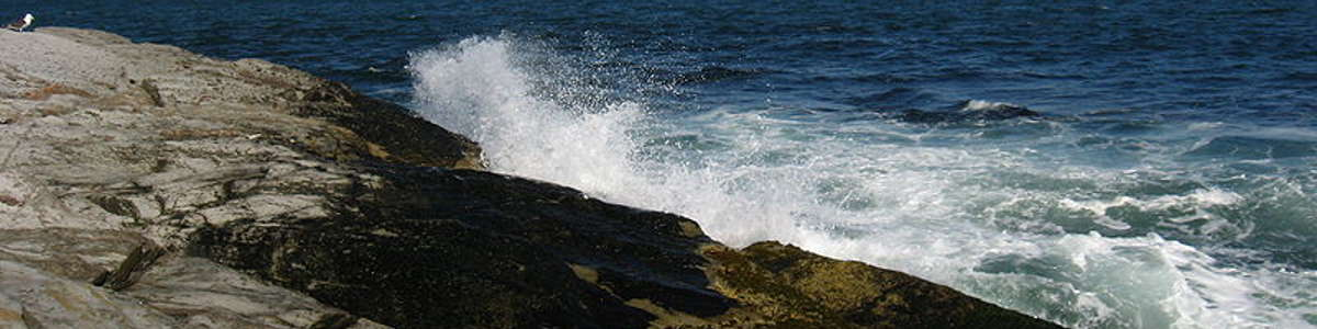 Waves crashing the rocky shoreline along the Rhode Island coast