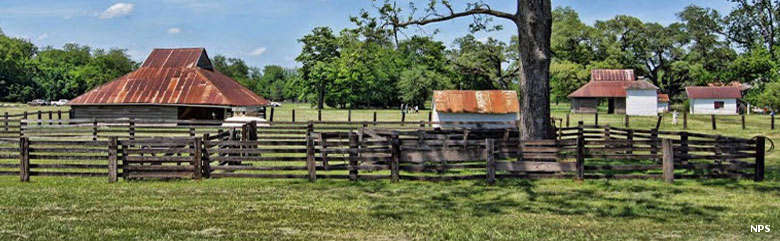 Barns, corrals and other outbuildings at Cane River Creole National Historical Park