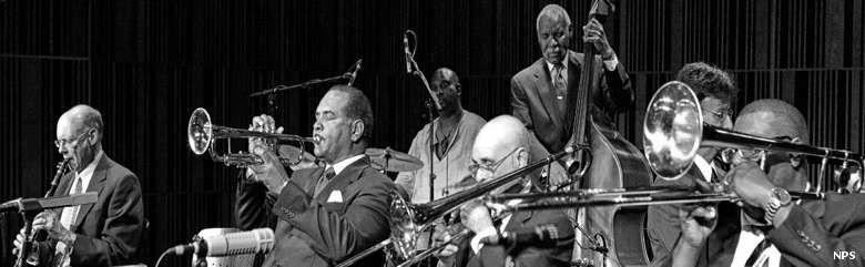 Black and white photo of a typical New Orleans jazz band