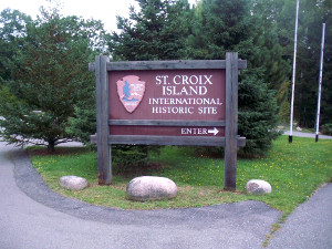 Entrance sign at St. Croix Island International Historic Site