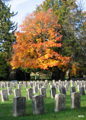 Gravestones and autumn foliage at Antietam National Cemetery