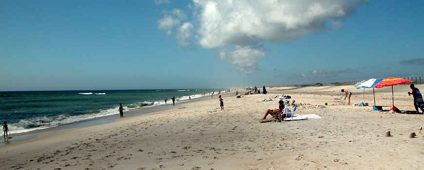 People sunning and playing on the beach at Assateague Island National Seashore