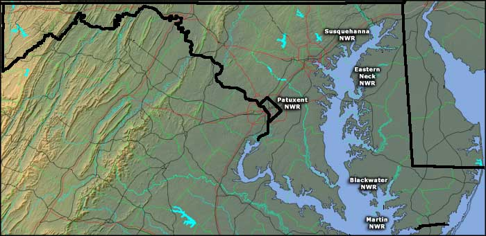 Locations of National Wildlife Refuges in Maryland