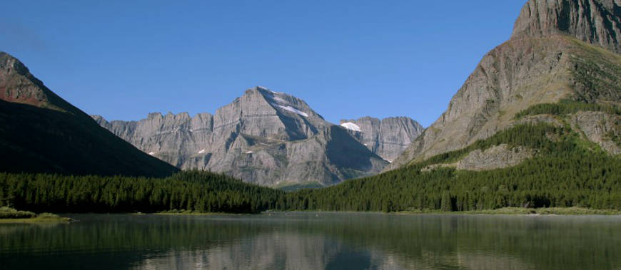 Mount Gould from across many Glacier Lake in Glacier National Park