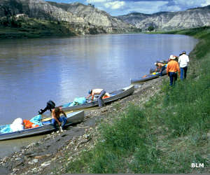 Canoes getting ready to set out on the river in the Upper Missouri River Breaks