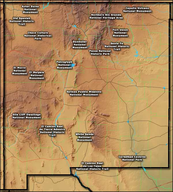 National Parks In New Mexico Map.National Park Service Sites In New Mexico The Sights And Sites Of