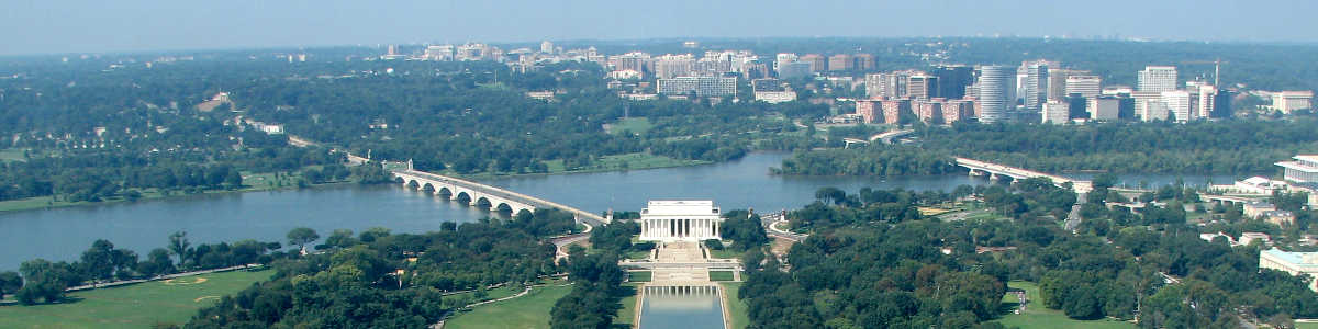 Washington DC: Looking across the Reflecting Pool from the top of the Washington Monument