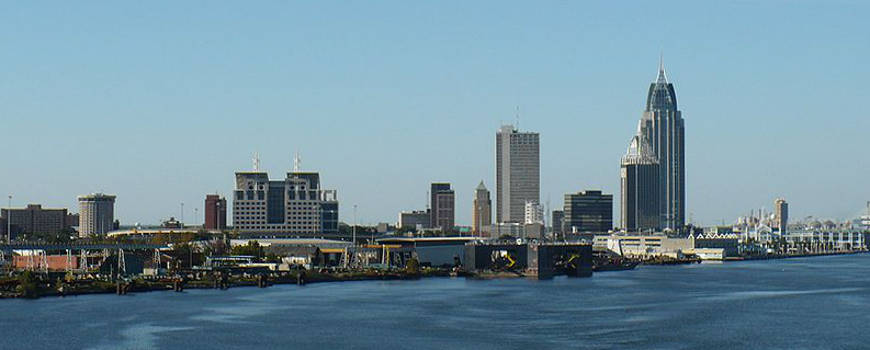 A view of the Mobile skyline from the south