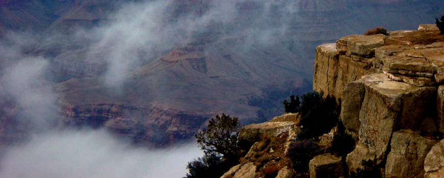 A foggy day at the Grand Canyon