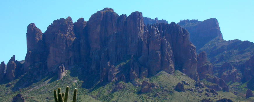 A view of the Superstition Mountains to the east of Apache Junction