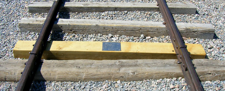 Marker at the site of the original golden spike