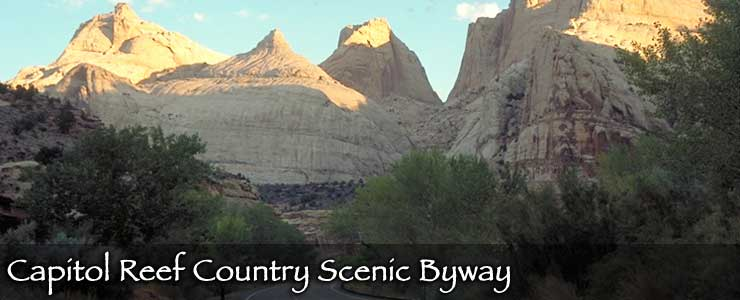 Sandstone towers rise along the Capitol Reef Country Scenic Byway