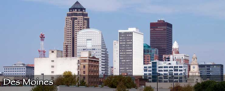 An aerial view of the Des Moines skyline