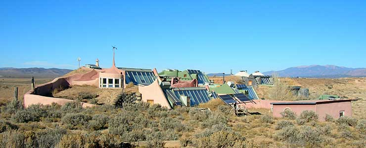 Earthships in the desert west of Taos Gorge