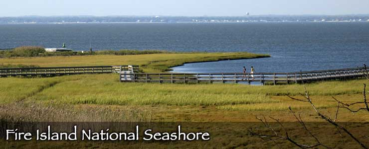 Wetlands, boardwalks and a view across Long Island Sound at Fire Island National Seashore