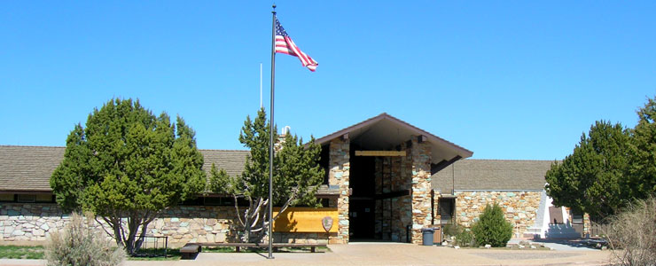 Frontal view of the Visitor Center at the Golden Spike National Historic Site