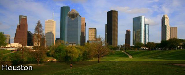 The Houston skyline from a nearby park