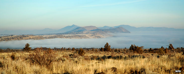 Looking across Tule Lake on a cold, foggy morning