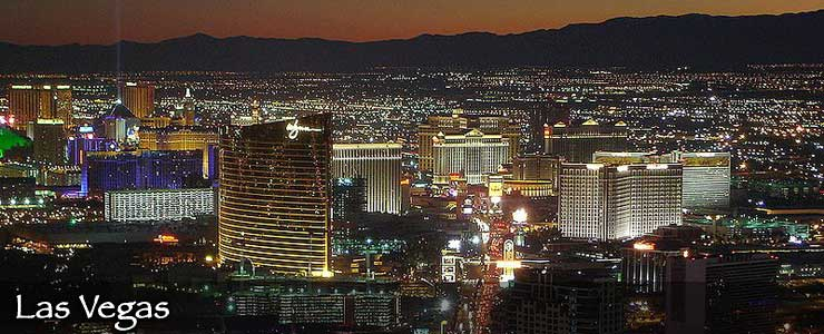 An aerial view of the Las Vegas Strip at night
