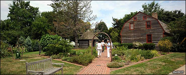 A park, gardens and restored pioneer cabins in the Kings Highway Historic District
