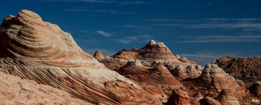 Looking through the multicolored buttes of Vermilion Cliffs National Monument