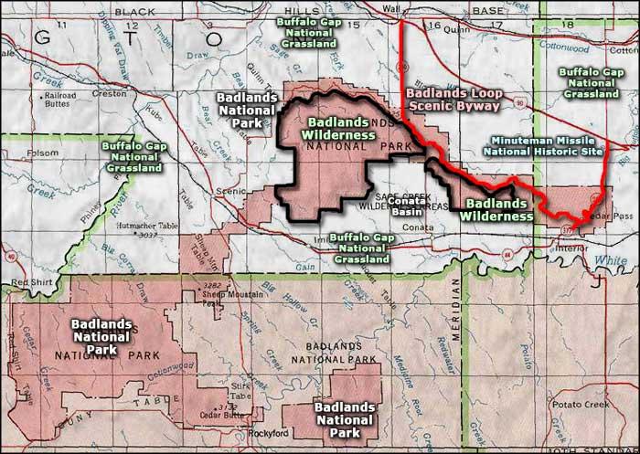 Badlands Nebraska Map.Badlands Loop Scenic Byway South Dakota Scenic Byways