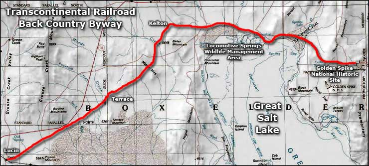 Area map of the Transcontinental Railroad Backcountry Byway