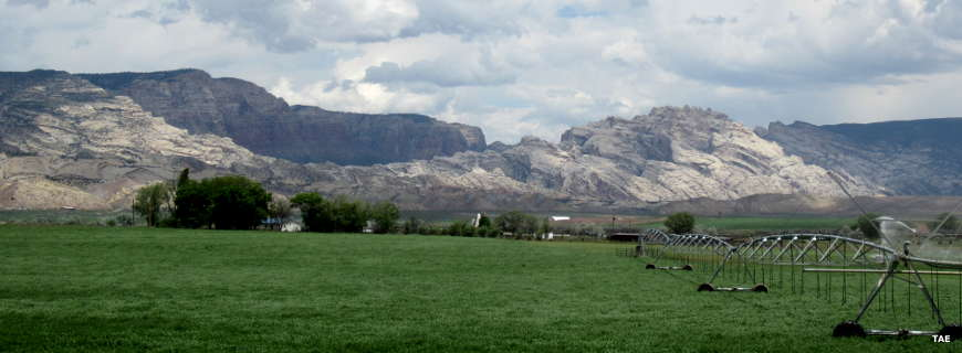 A view looking toward Dinosaur National Monument from northeast of Vernal