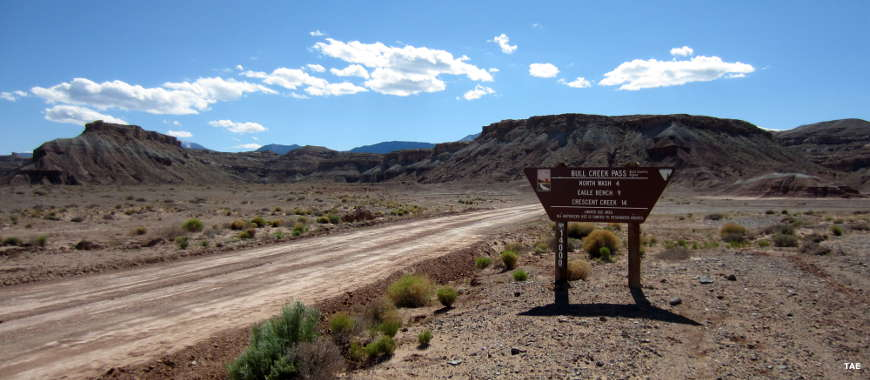 Sign marking Bull Creek Pass Backcountry Byway in Utah