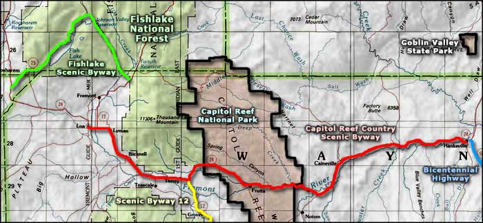 Capitol Reef National Park   The Sights and Sites of America on yucca house national monument map, roosevelt park north dakota map, little bighorn battlefield national monument map, sequoia national park map, bryce canyon map, lake clark national park and preserve map, valley of fire state park map, kings canyon national park map, dead horse point state park map, hickman bridge capitol reef map, organ pipe cactus national monument map, lake powell map, monument valley map, chaco culture national historical park map, denali national park and preserve map, zion park shuttle map, u.s. capitol map, hawaii volcanoes national park map, canyon de chelly national monument map, canada national parks map,