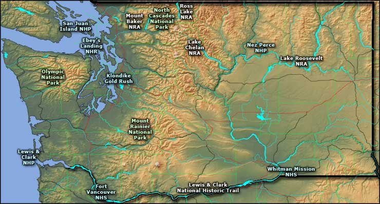 National Parks In Washington State Map.National Park Service Sites In Washington The Sights And Sites Of