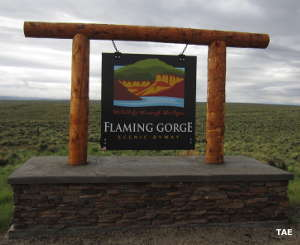 Sign marking the Flaming Gorge-Green River Basin Scenic Byway in Wyoming